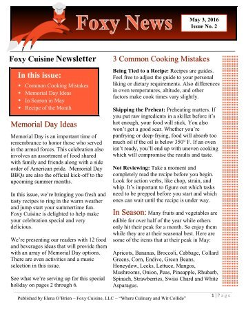 Foxy News - Foxy Cuisine Newsletter - May 2016 - Issue 2