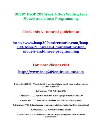 DEVRY BSOP 209 Week 4 Quiz Waiting