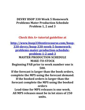 DEVRY BSOP 330 Week 5 Homework Problems