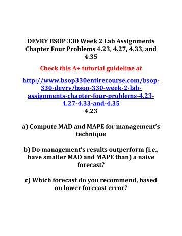 DEVRY BSOP 330 Week 2 Lab Assignments