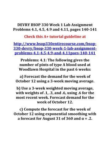 DEVRY BSOP 330 Week 1 Lab Assignment  4