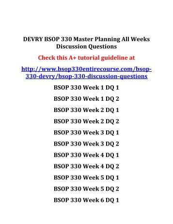 DEVRY BSOP 330 Master Planning All Weeks