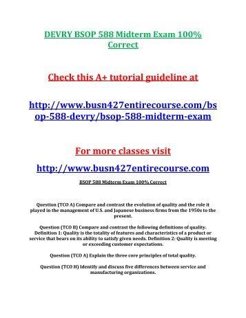 DEVRY BSOP 588 Midterm Exam 100