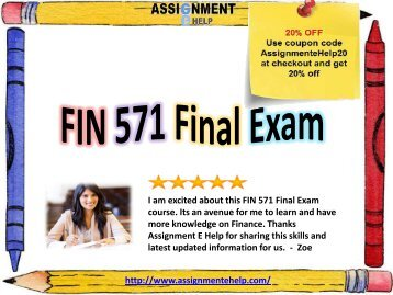 fin assignment Finance assignment help in us, uk & australia if you are pursuing mba or related commerce-based course, then dealing with the subject of finance is inevitable.