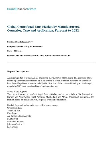 Global Centrifugal Fans Market by Manufacturers, Countries, Type and Application, Forecast to 2022