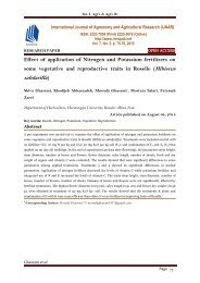 Effect of application of Nitrogen and Potassium fertilizers on some vegetative and reproductive traits in Roselle (Hibiscus sabdariffa)