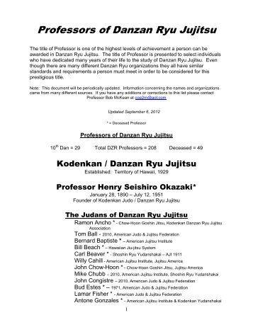 Professors of Danzan Ryu Jujitsu - Pacific Jujitsu Alliance