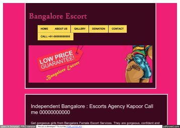 Escorts in Bangalore You Need to Keep Your Cool