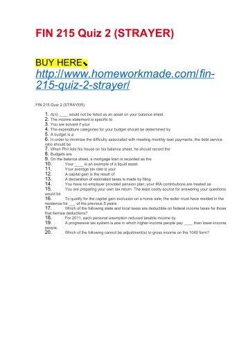 FIN 215 Quiz 2 (STRAYER)