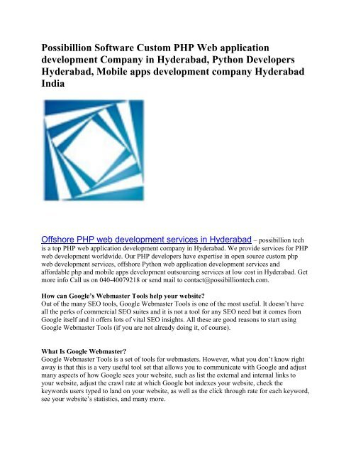 Possibillion Software Custom PHP Web application development