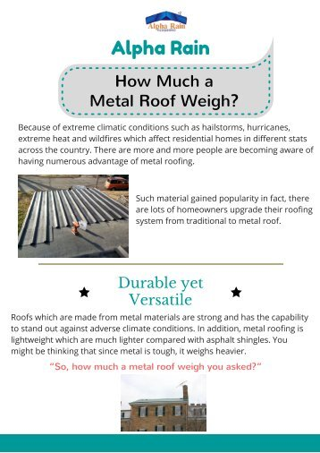 Curious About Weight of Metal Roof?