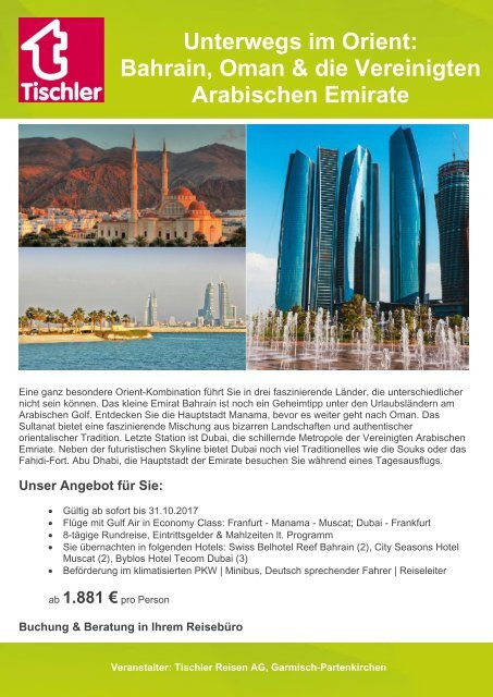 Unser Kombitipp: Bahrain, Oman & V.A.E.