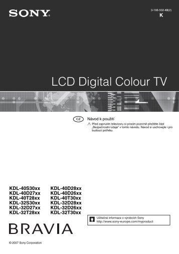 Sony KDL-32D2600 - KDL-32D2600 Mode d'emploi Tchèque