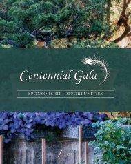 Centennial Gala Sponsorship Opportunities Booklet