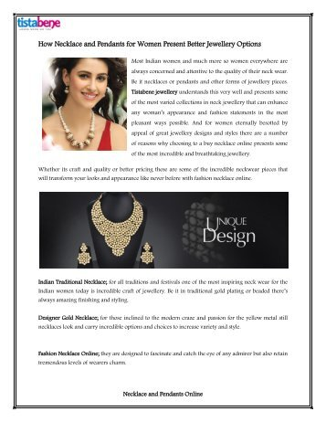 How Necklace and Pendants for Women Present Better Jewellery Options