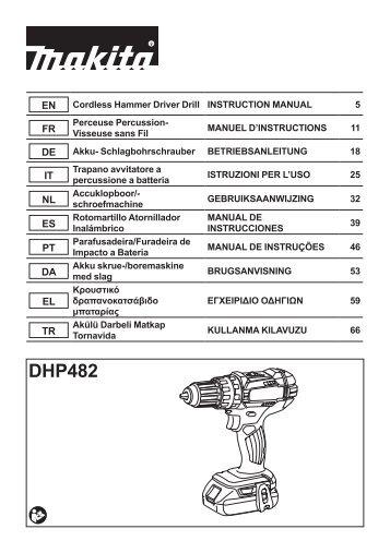 Makita Perceuse visseuse à percussion 18 V Li-Ion 5 Ah Ø 13 mm (3 batteries) - DHP482RT3J - Notice