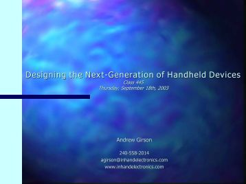 Designing the Next-Generation of Handheld Devices