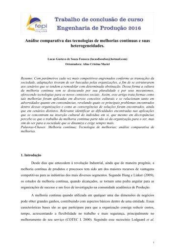 Análise comparativa das tecnologias de melhorias contínuas e suas heterogeneidades
