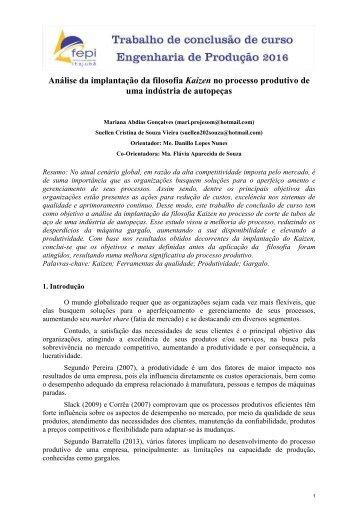Análise da implantação da filosofia Kaizen no processo produtivo de uma indústria de autopeças
