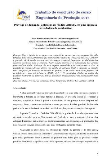 Previsão de demanda: aplicação do modelo ARIMA em uma empresa revendedora de combustível