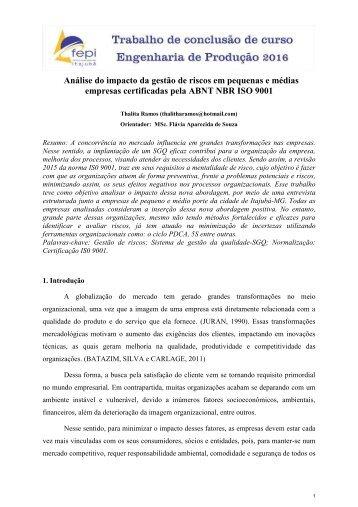 Análise do impacto da gestão de riscos em pequenas e médias empresas certificadas pela ABNT NBR ISO 9001