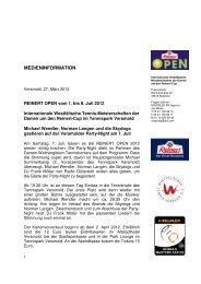 Presseinfo Reinert Open: Michael Wendler, Norman Langen und