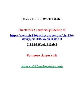 DEVRY CIS 336 Week 3 iLab 3