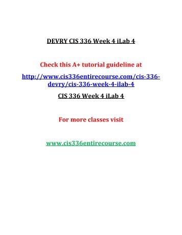 DEVRY CIS 336 Week 4 iLab 4