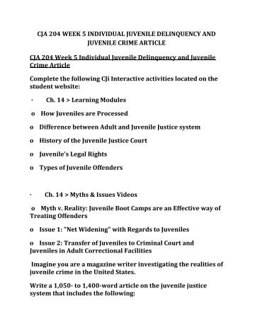 cja 204 week 2 individual paper Cja 204 week 4 individual assignment: court system paper january 2, 2018 admin $ 2500 individual assignment: court system paper write a 1,050-1,400-word.