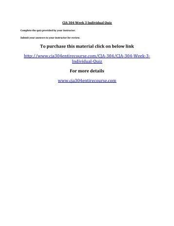 CJA 304 Week 3 Individual Quiz
