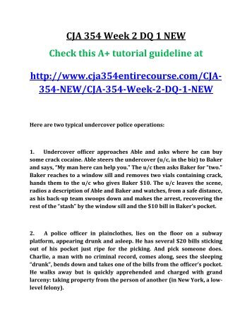 cja 354 week one criminal law paper For dxj writer: week 1 cja-354 criminal law: due friday individual criminal law paper locate a recent criminal supreme - answered by a verified writer.