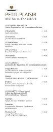 Sonnenhof - Petit Plaisir Brasserie - Speisekarte Abend