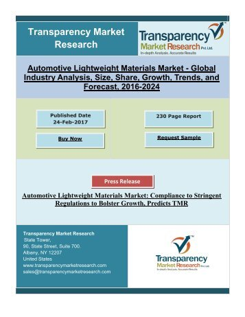 Automotive Lightweight Materials Market: Compliance to Stringent Regulations to Bolster Growth, Predicts TMR