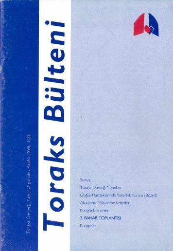 Toraks Bülteni - Aralık 1998, 3(2)