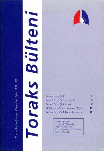 Toraks Bülteni - Eylül 1998, 3(1)