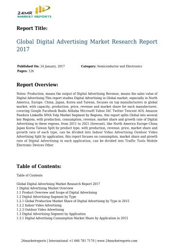 Global Digital Advertising Market Research Report 2017