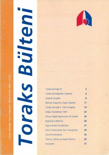 Toraks Bülteni - Nisan-Aralık 1997, 2(1-2)