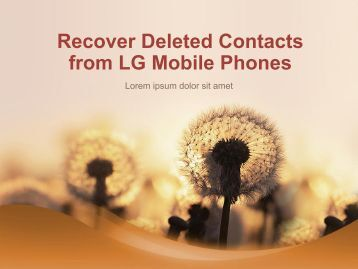 Recover Deleted Contacts from LG Mobile Phones