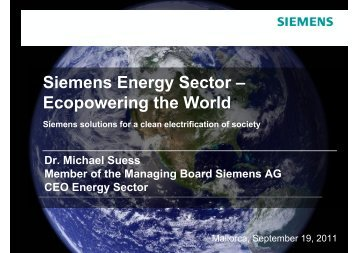 Presentation: Siemens Energy Sector – Ecopowering the World