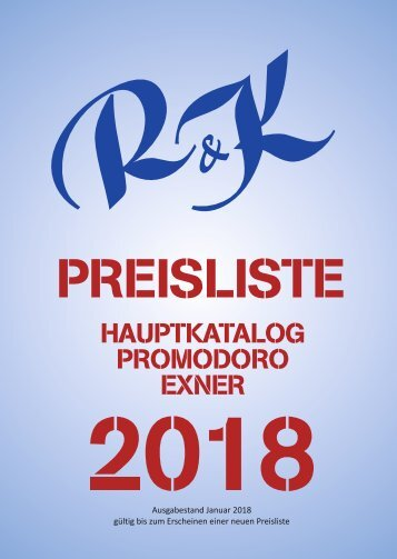 2018 Hauptkatalog Preisliste
