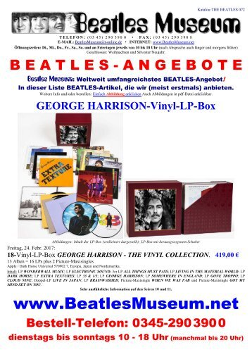 Beatles Museum - Katalog 72 mit Hyperlinks