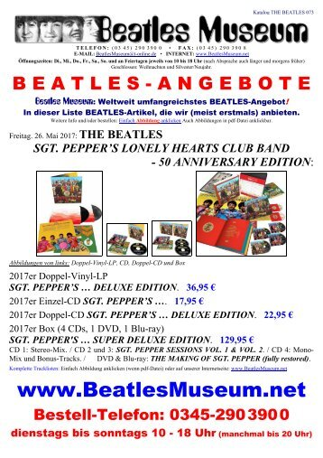 Beatles Museum - Katalog 73 mit Hyperlinks