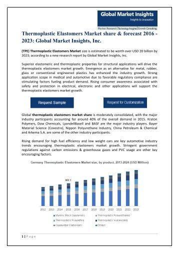 Thermoplastic Elastomers Market Estimates & Statistics, 2016 - 2023
