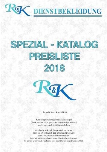 2018 Spezialkatalog Preisliste