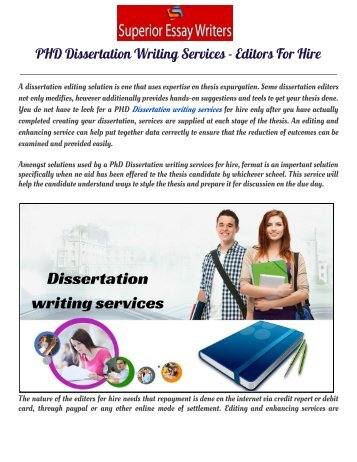 PHD Dissertation Writing Services  - Editors For Hire