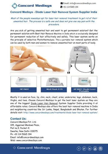 Concord Medisys - Diode Laser Hair Removal System Supplier India