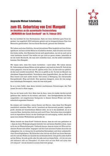 Ansprache Michael Schottenberg zum 85. Geburtstag von Erni ...