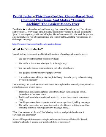 Profit Jackr review demo and $14800 bonuses