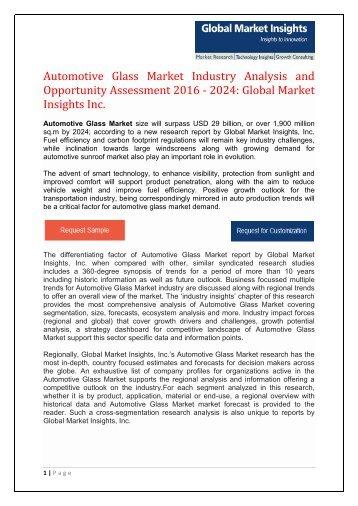 Automotive Glass Market by Type, Smart Glass by Technology, Application & Region, Forecast by 2024