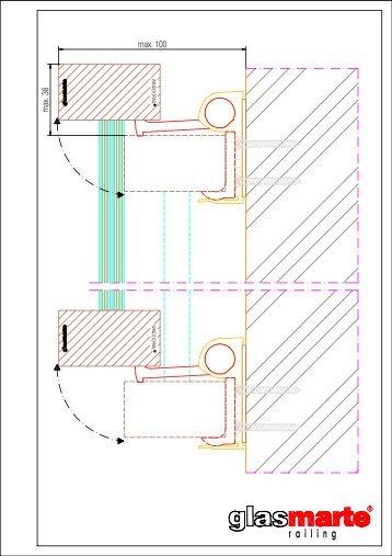 GM WINDOORAIL Profil eckig 54/30 ausgeschwenkt - Detailzeichnung